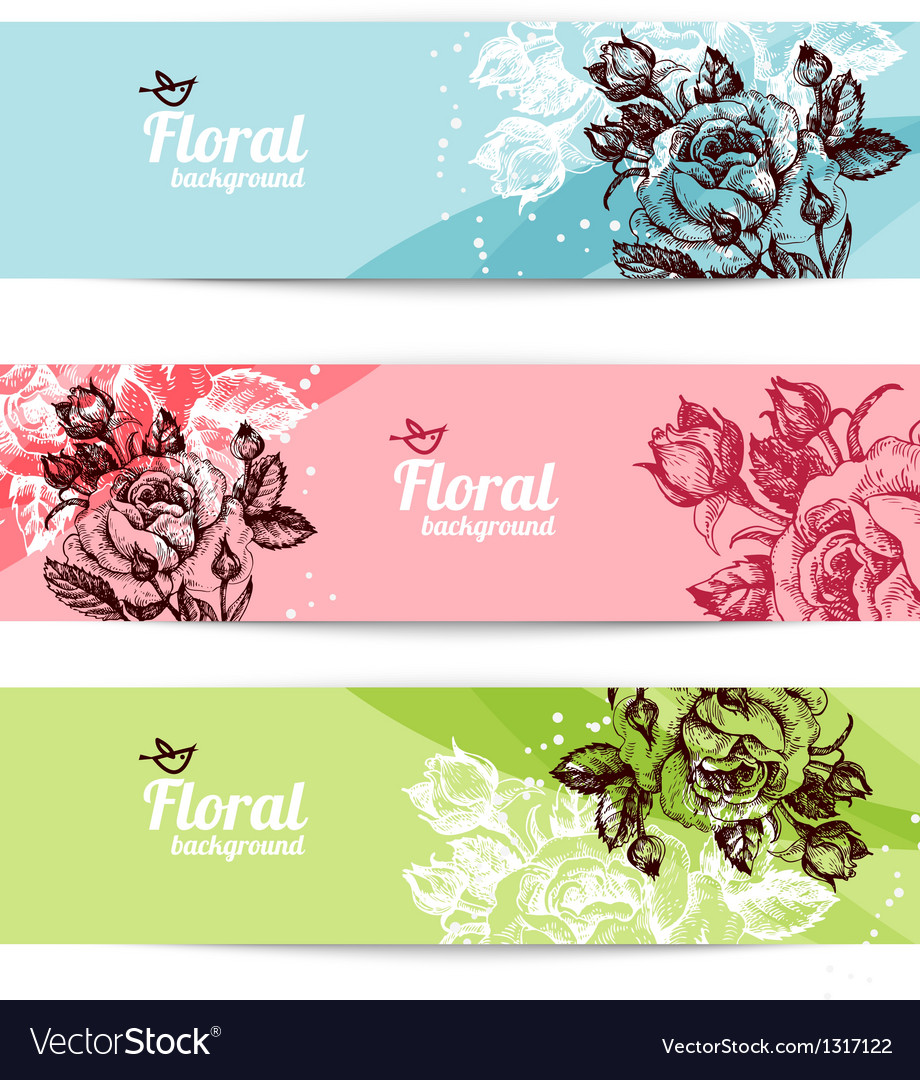 Banners with floral background