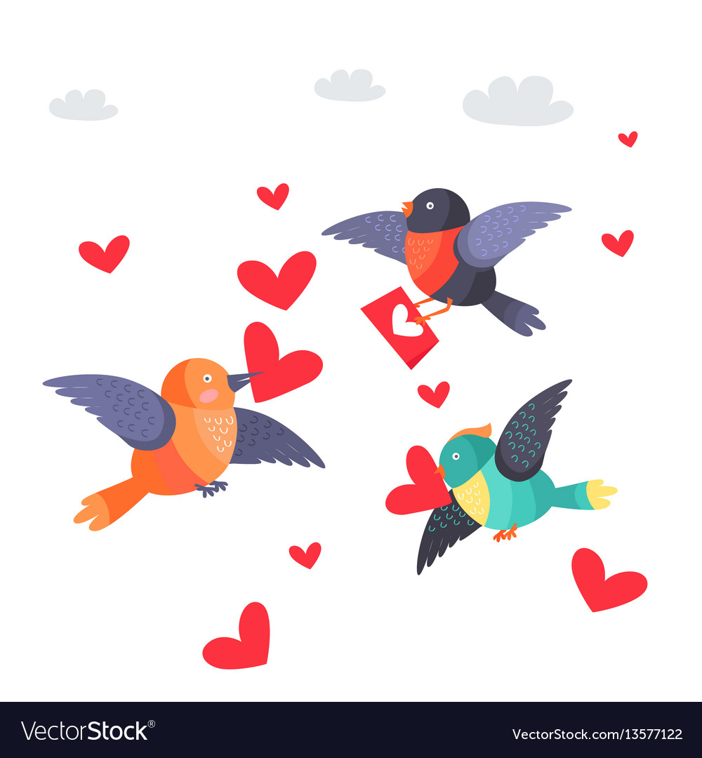 Birds with hearts in beak and envelope flying