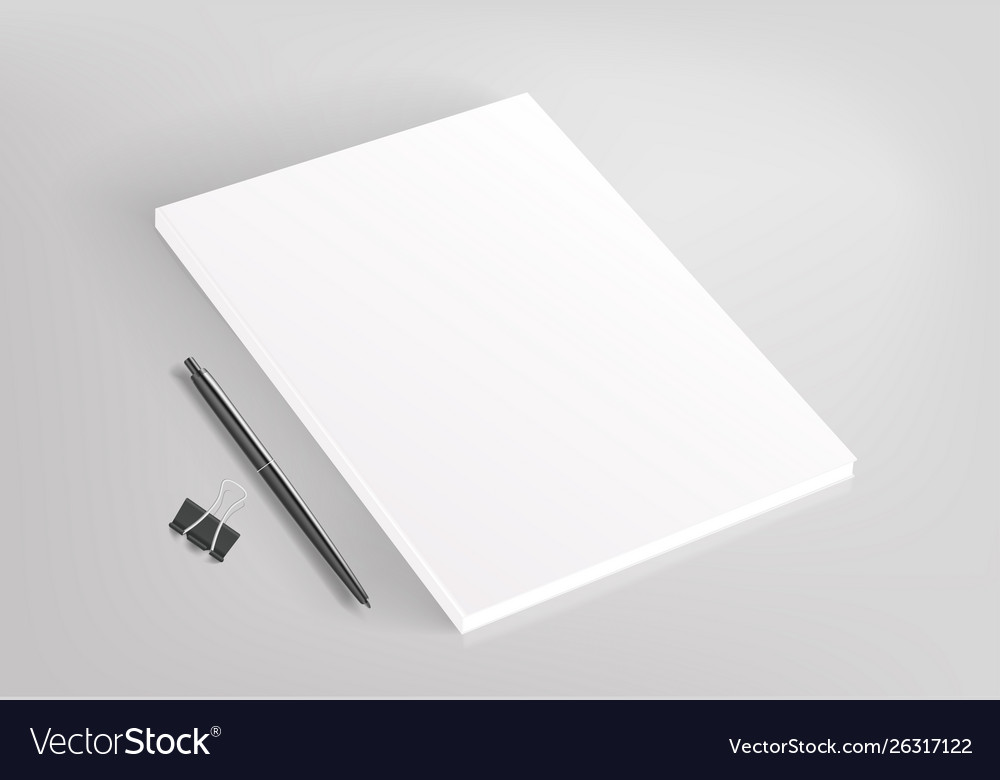 Blank white book and office stationery