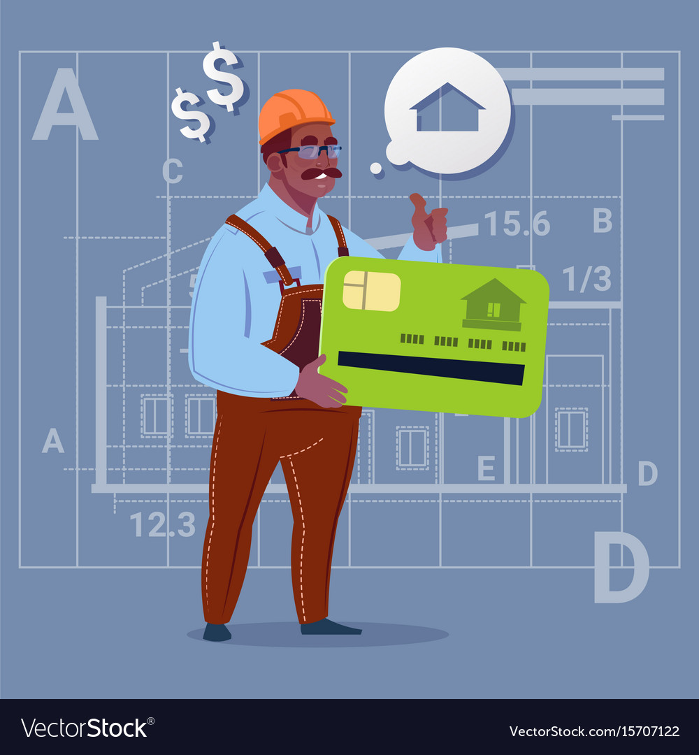 Cartoon african american builder hold credit card
