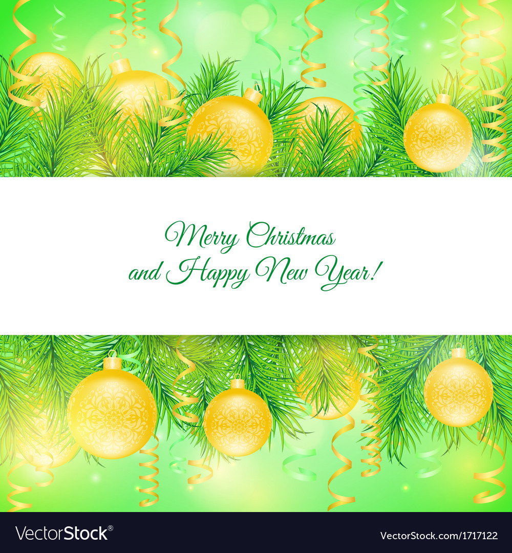 Christmas card Christmas yellow toys vector image