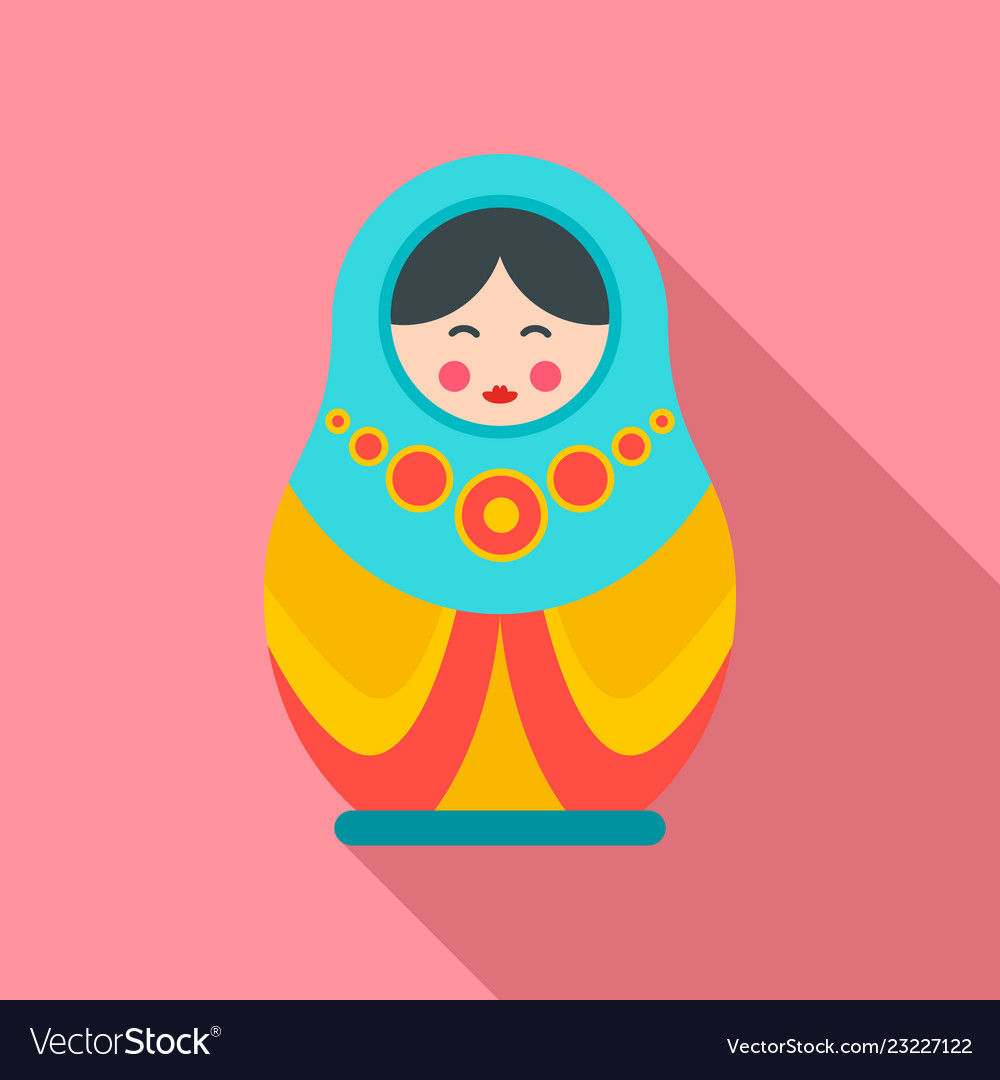 Culture nesting doll icon flat style