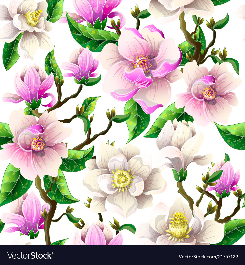 Delicate seamless pattern with magnolia flowers