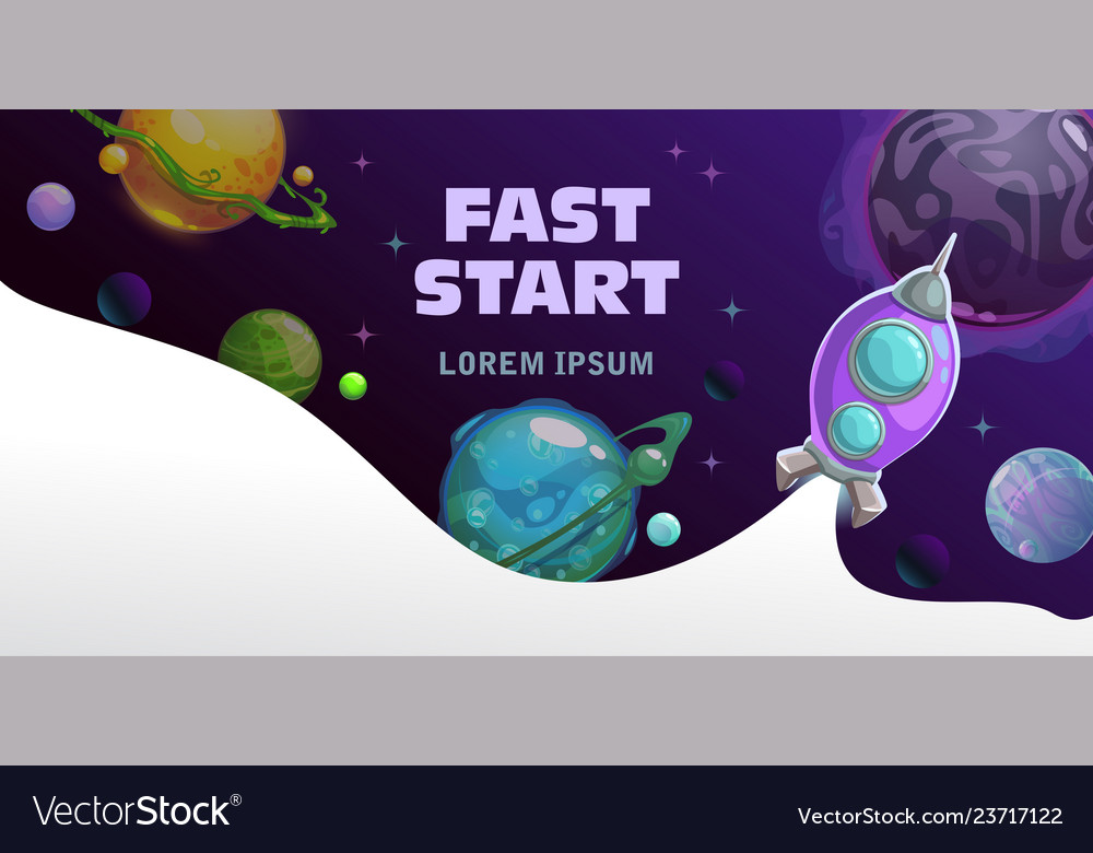 Fast start concept space theme horizontal banner