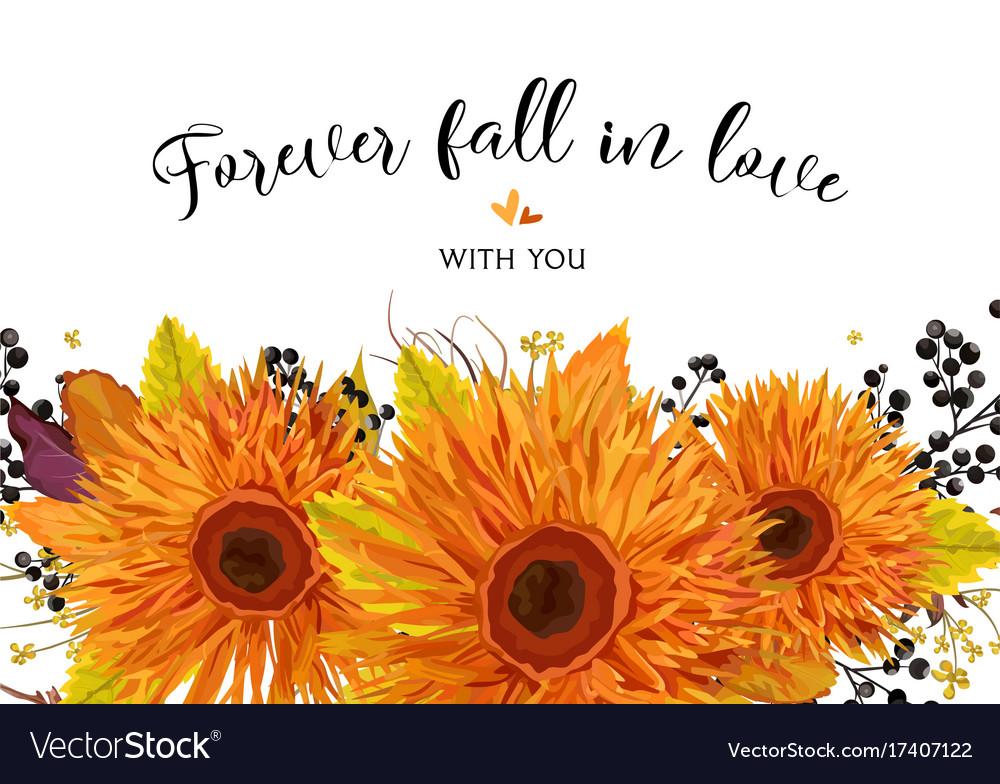Floral card design autumn bright orange gerbera vector image