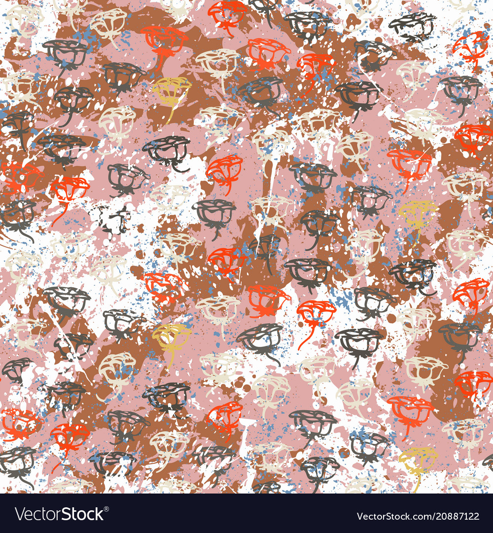 Floral grunge pattern with roses