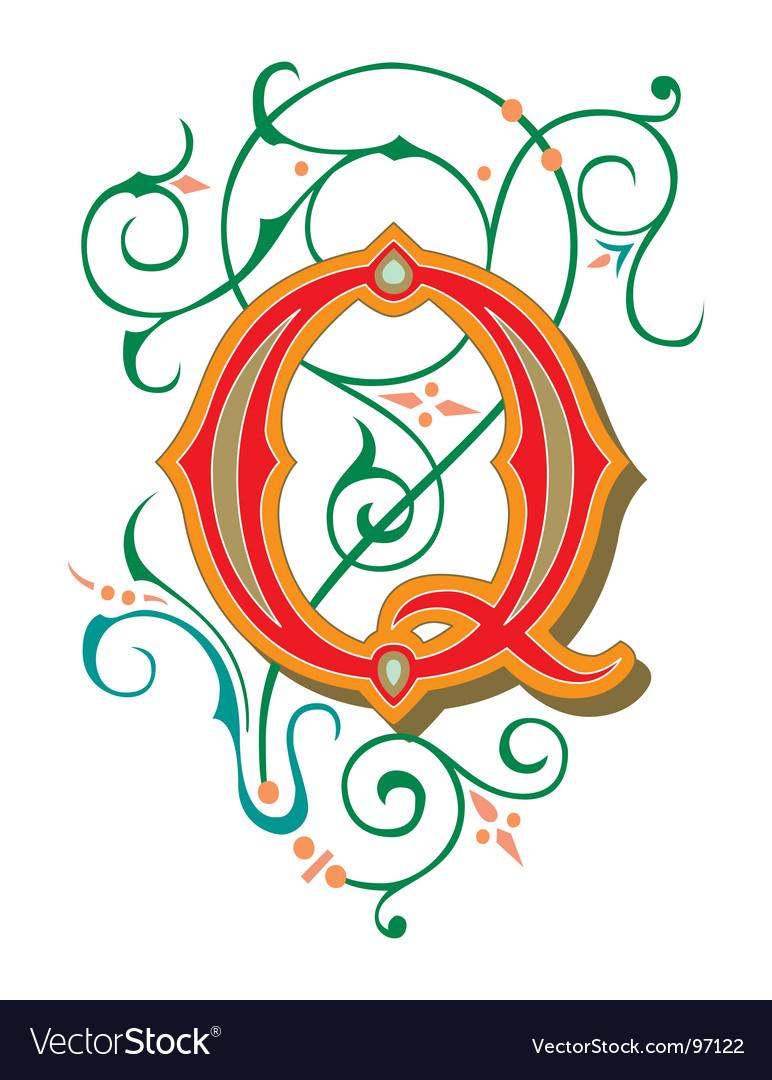 Floral letter q vector image