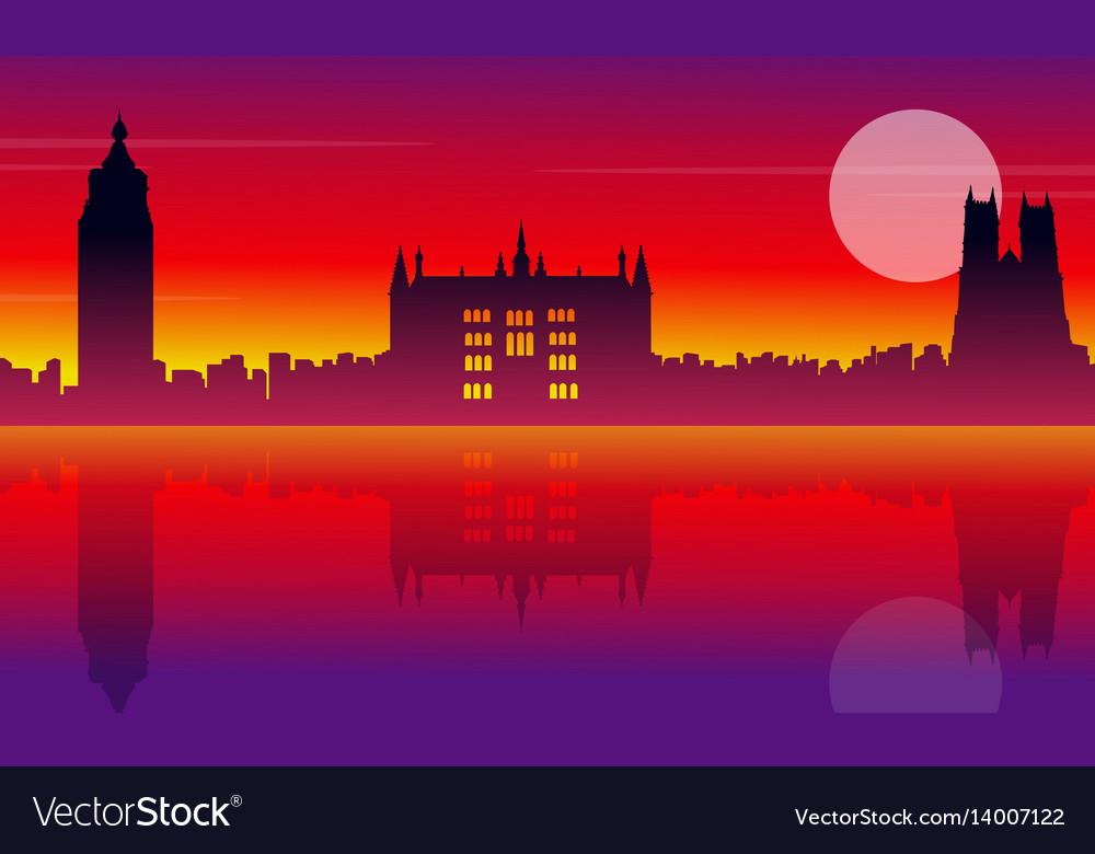 London city building silhouette style landscape