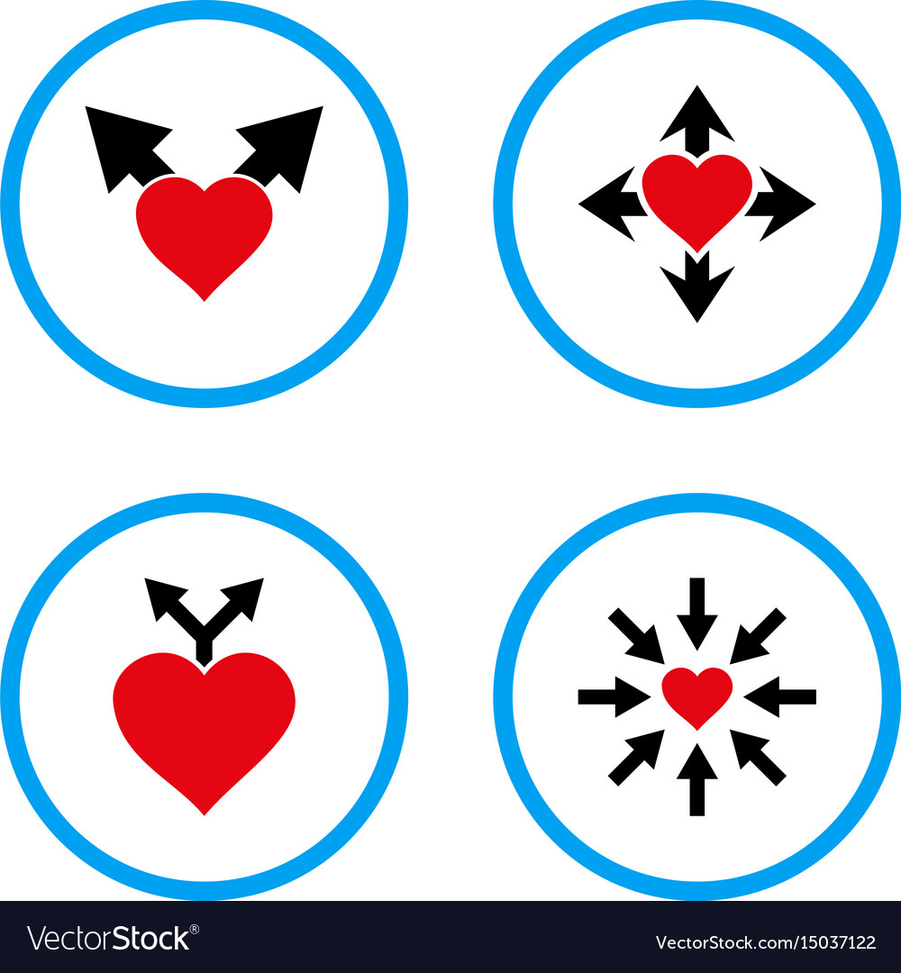 Love variants rounded icons vector image