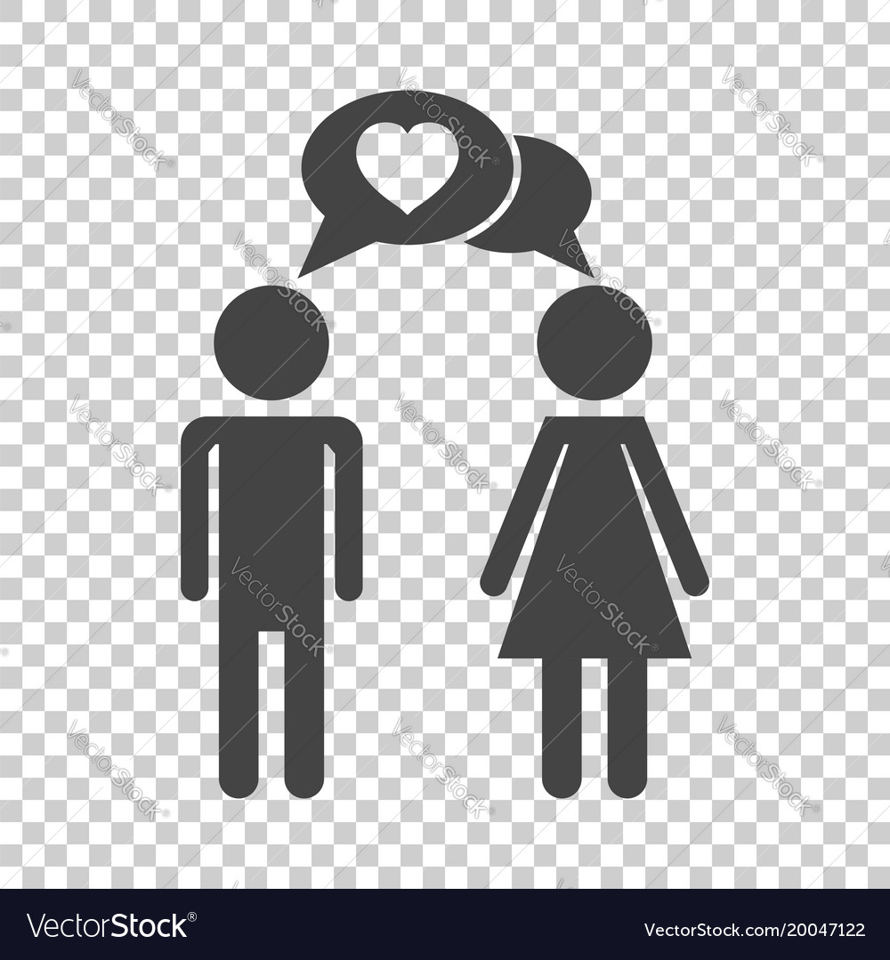 Man and woman with heart icon on isolated
