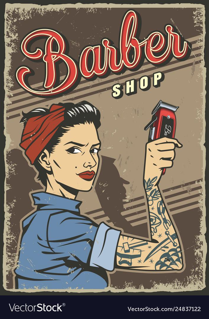 Vintage barbershop colorful poster
