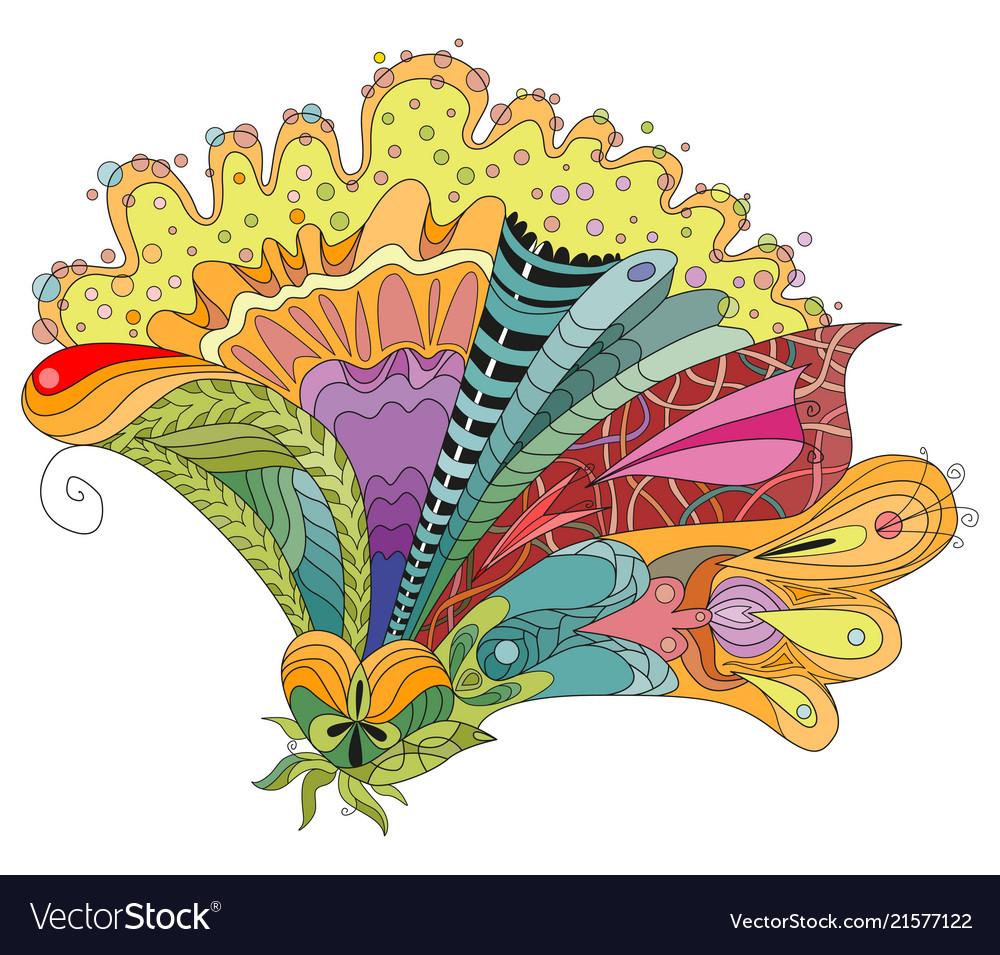 Zentangle stylized flower hand drawn lace