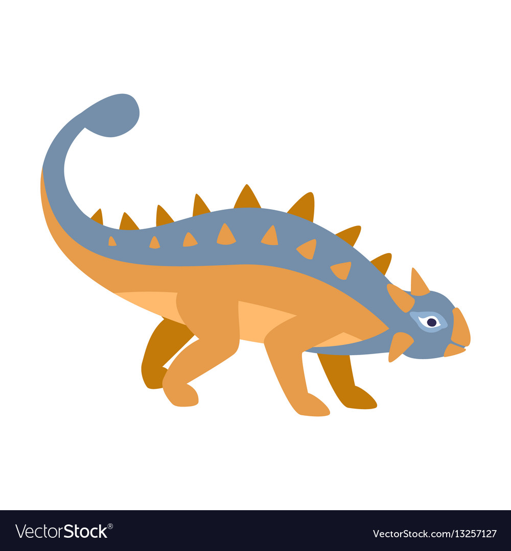 Ankylosaurus blue and orange dinosaur of jurassic vector image