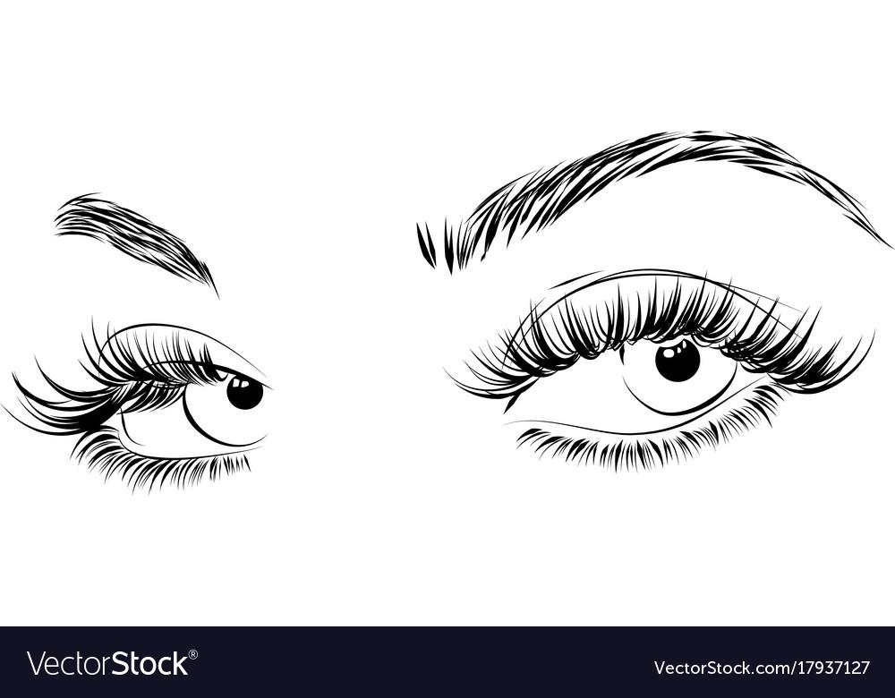 Female eyes drawing long eyelashes