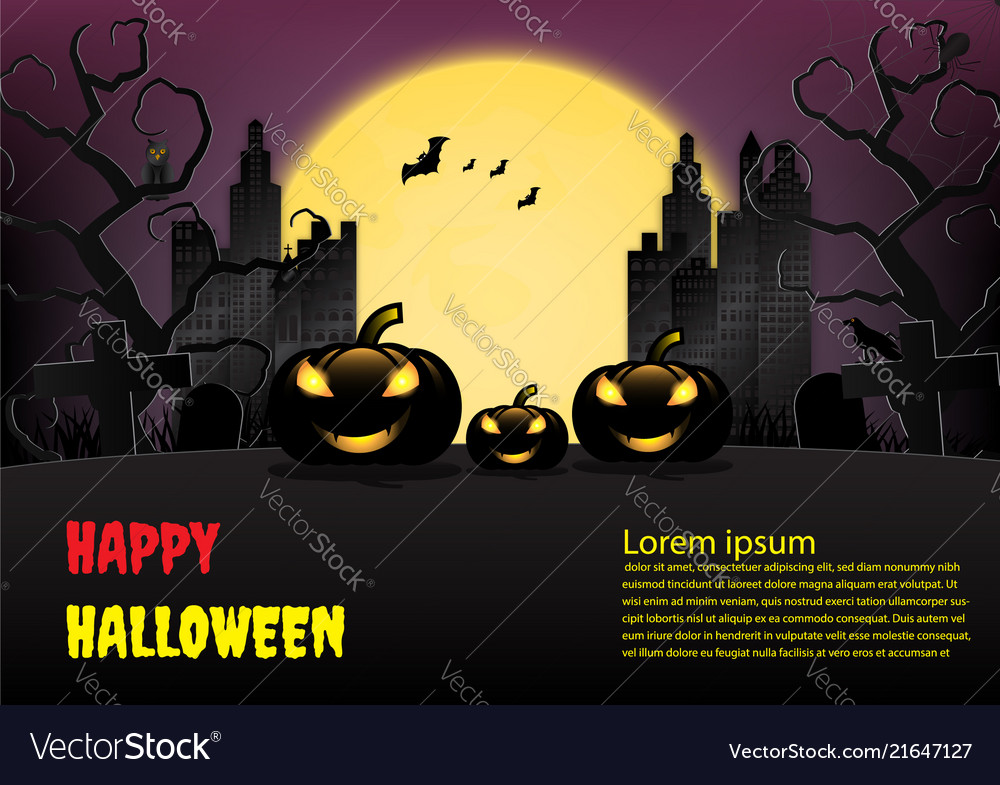 Halloween town background with pumpkin and full