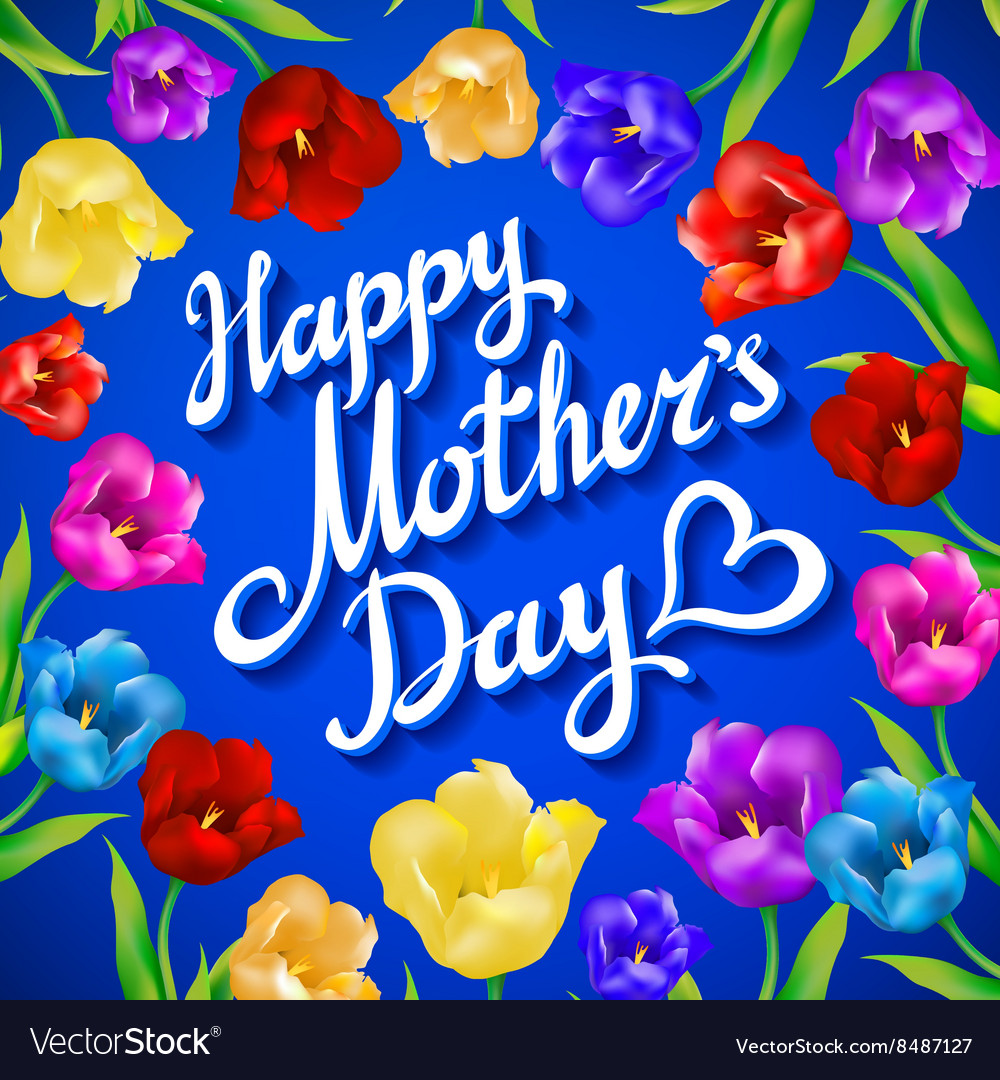 Happy Mothers Day Beautiful Blooming tulip Vector Image
