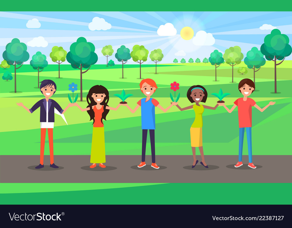 Happy people hold hands celebrate environment day