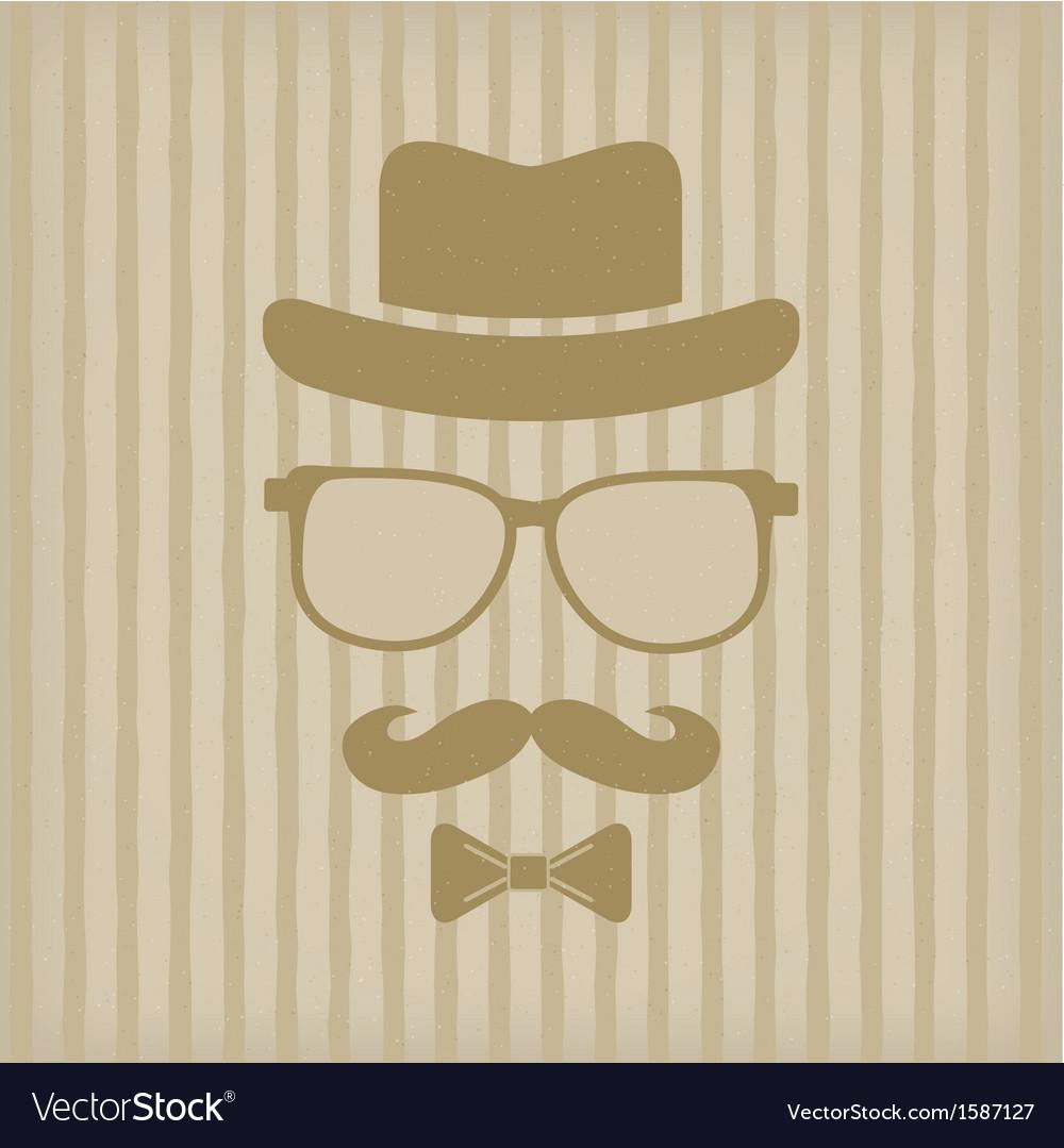 Пожеланием, открытка с усами и очками