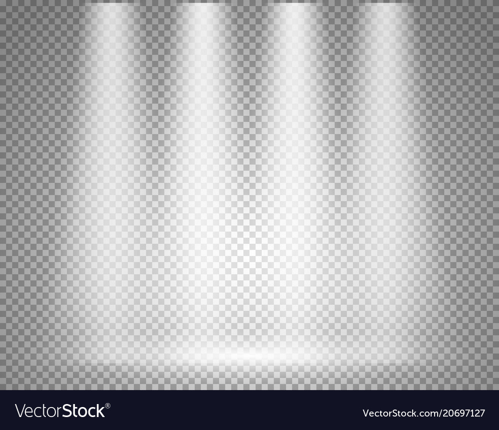 Illuminated stage with spotlight on transparent vector image