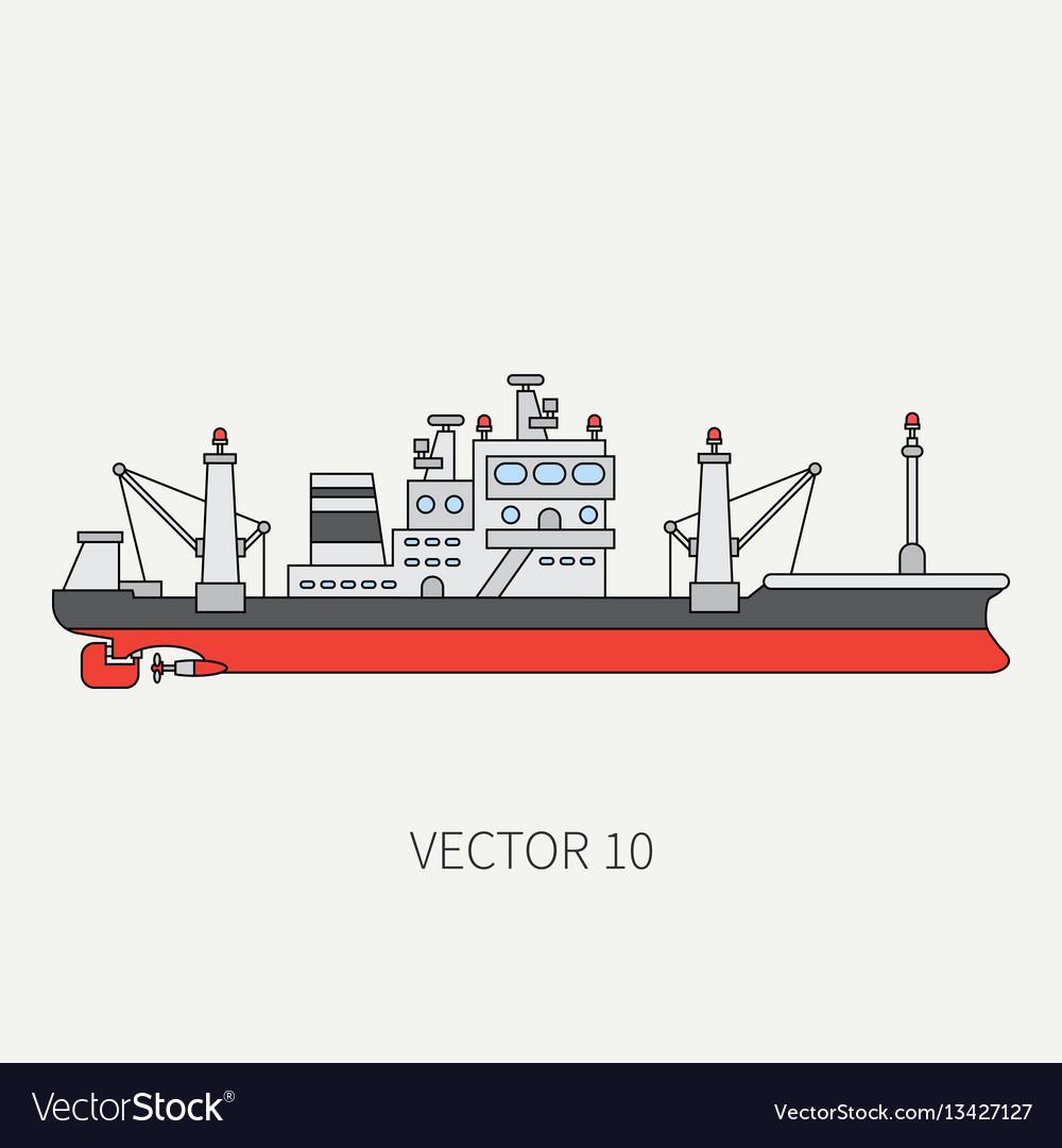 Line flat color icon comercial trawler ship