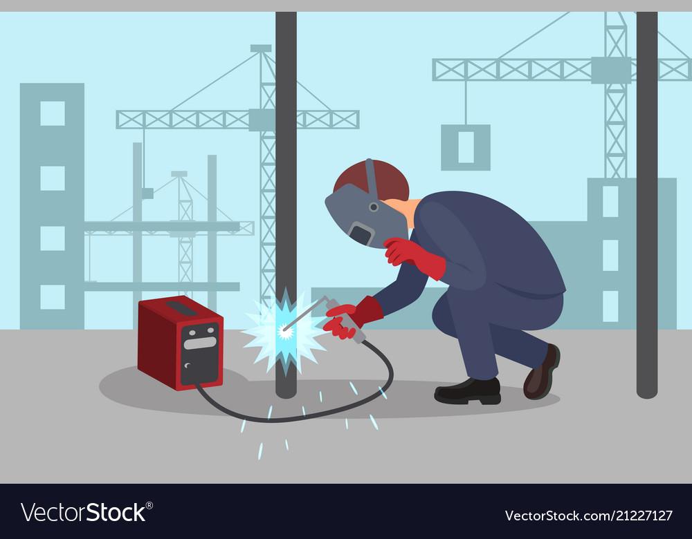 man welds steel construction by welding machine vector image rh vectorstock com