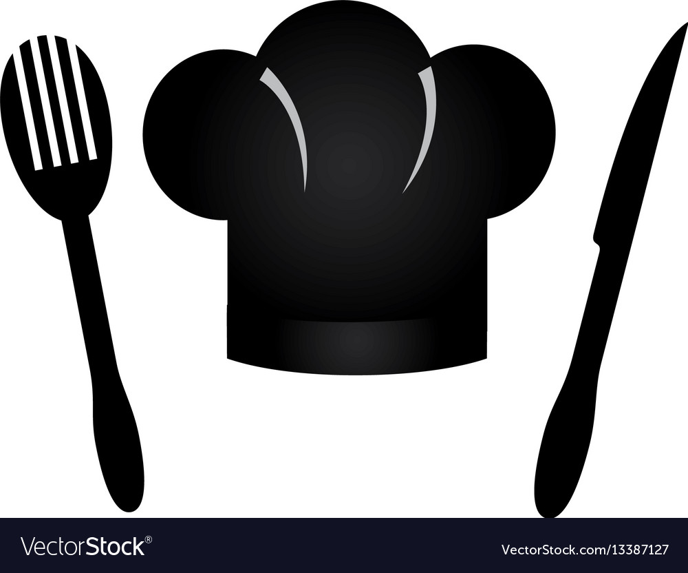 Monochrome silhouette cutlery set and chef hat