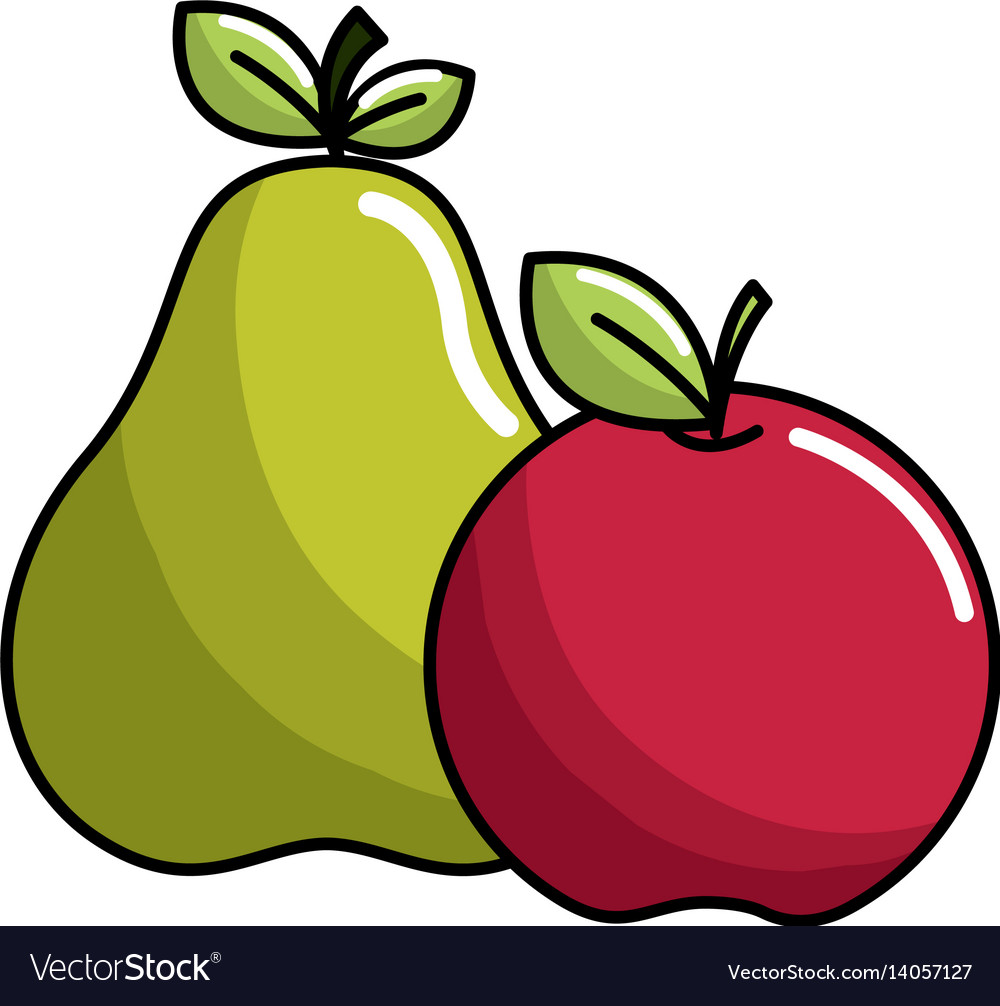 Pear and apple fruit icon stock