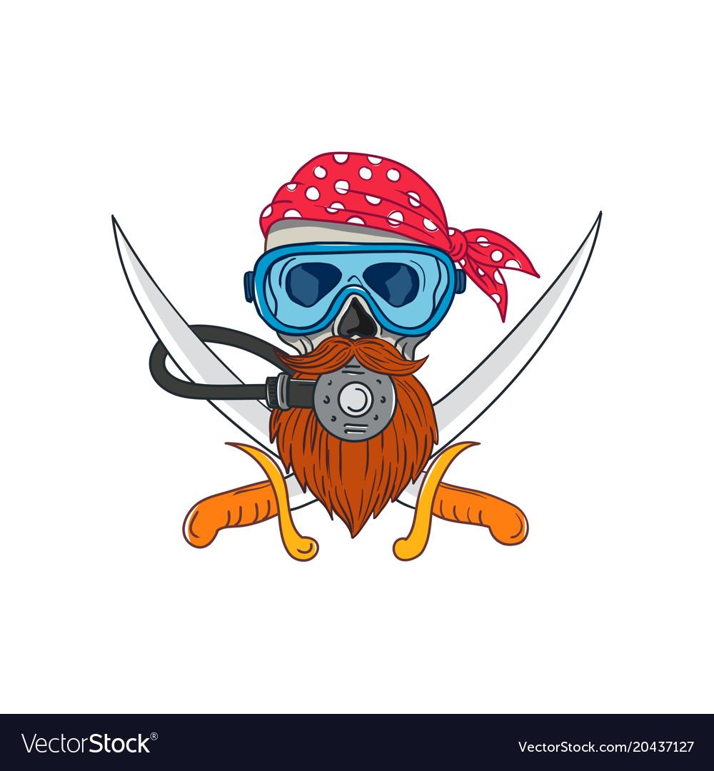 Pirate skull beard diving mask drawing