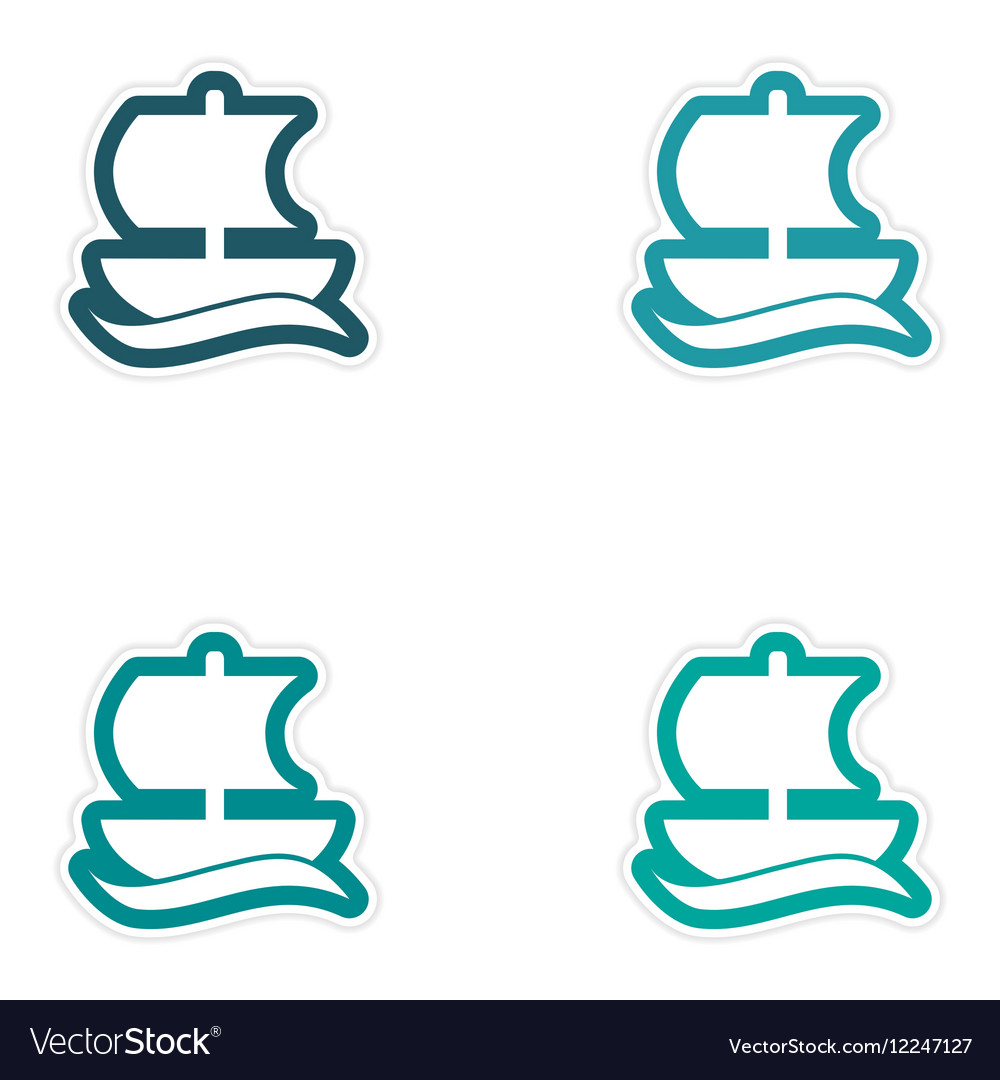 Set of paper stickers on white background Greek