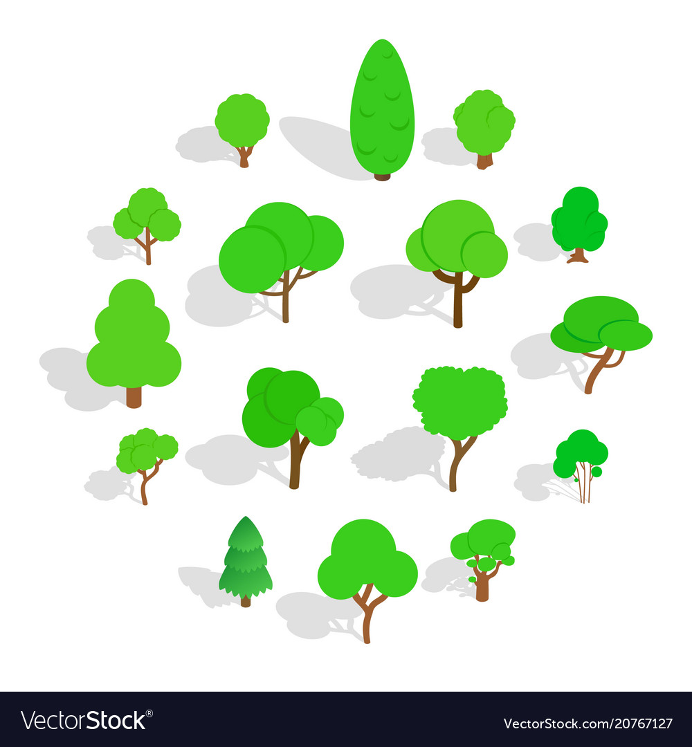 Tree icons set isometric 3d style vector image