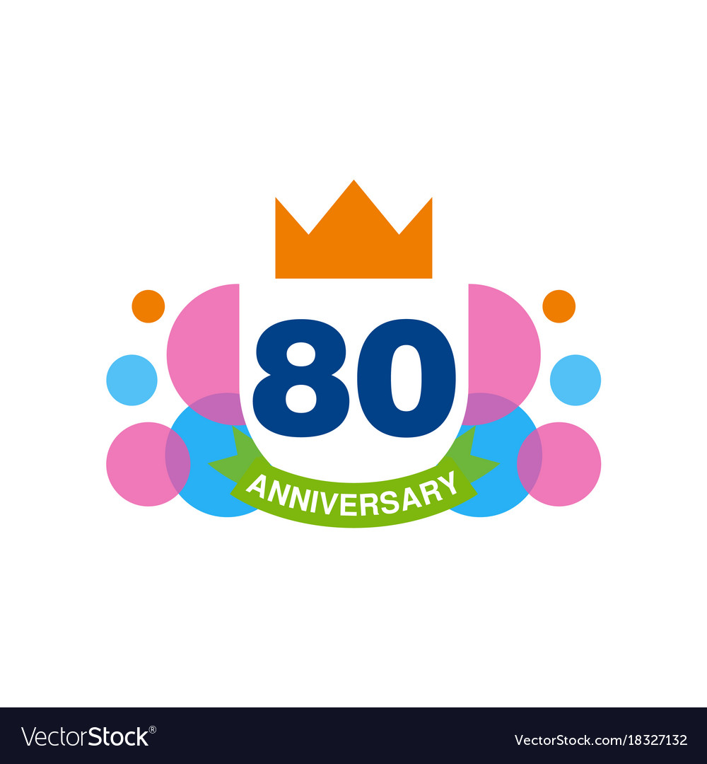 80th anniversary colored logo design happy