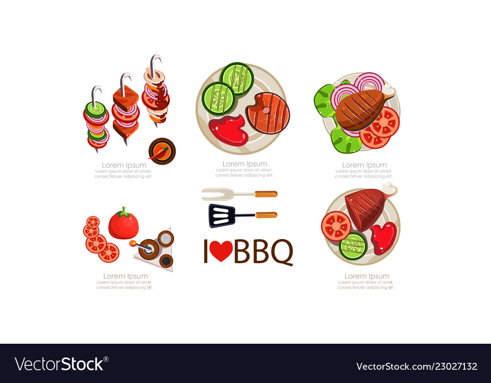 Barbecue icons set grilled food menu design