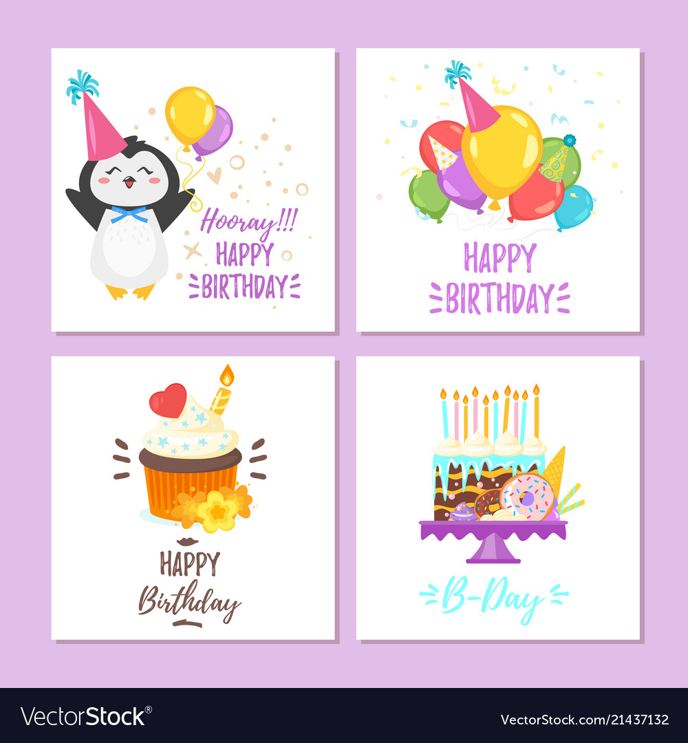 Birthday Greeting Cards Set Royalty Free Vector Image