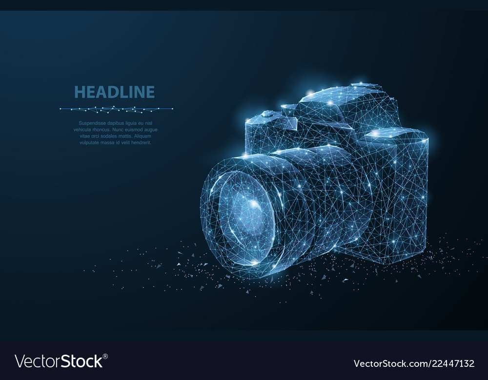 Camera abstract 3d polygonal wireframe modern