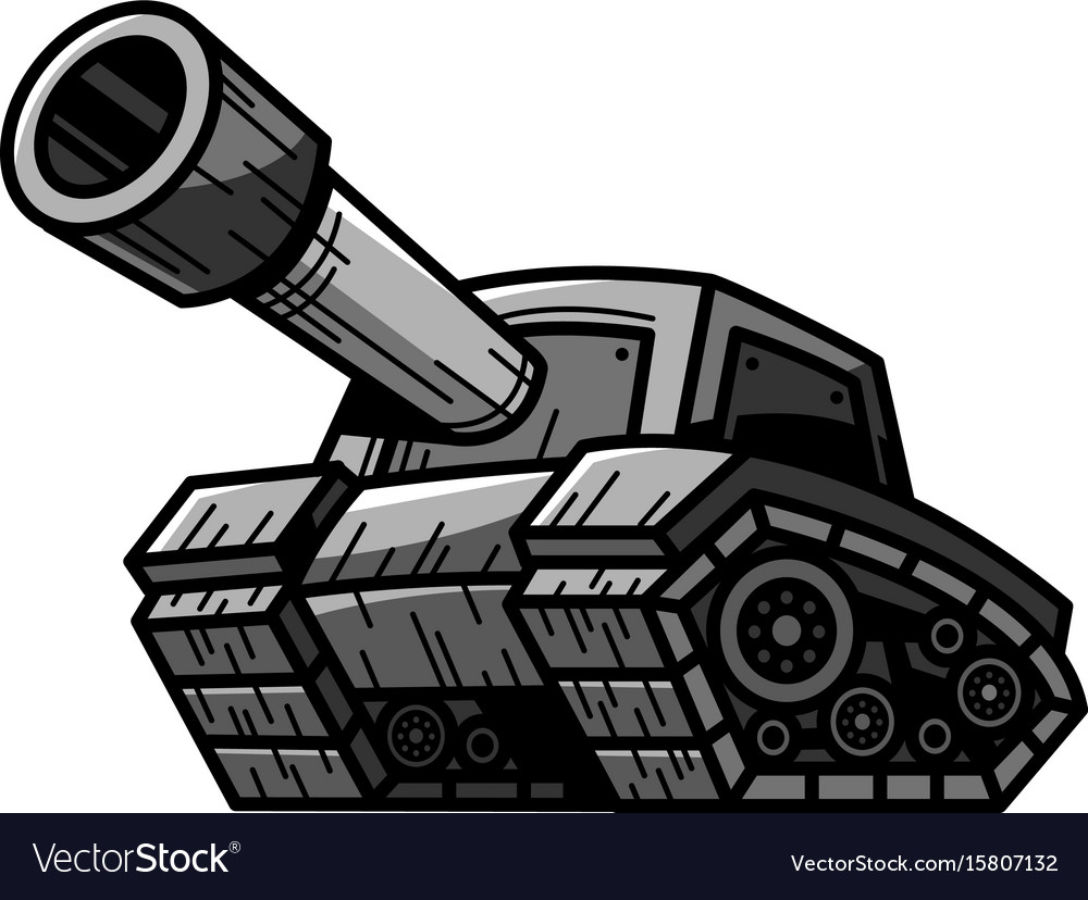 Cartoon army tank machine with big cannon ready