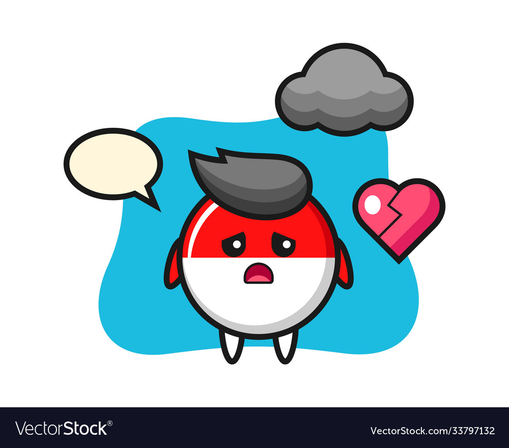 indonesia flag badge cartoon is broken heart vector image indonesia flag badge cartoon is broken heart vector image