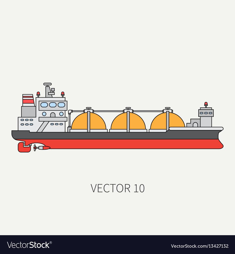 Line flat color icon ocean tanker ship
