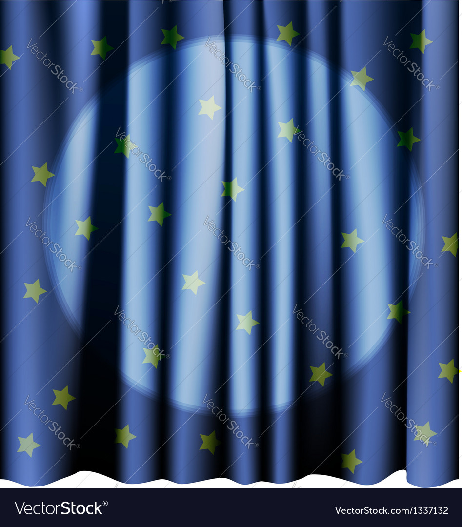 Magic blue curtain for the stage Editable meshes