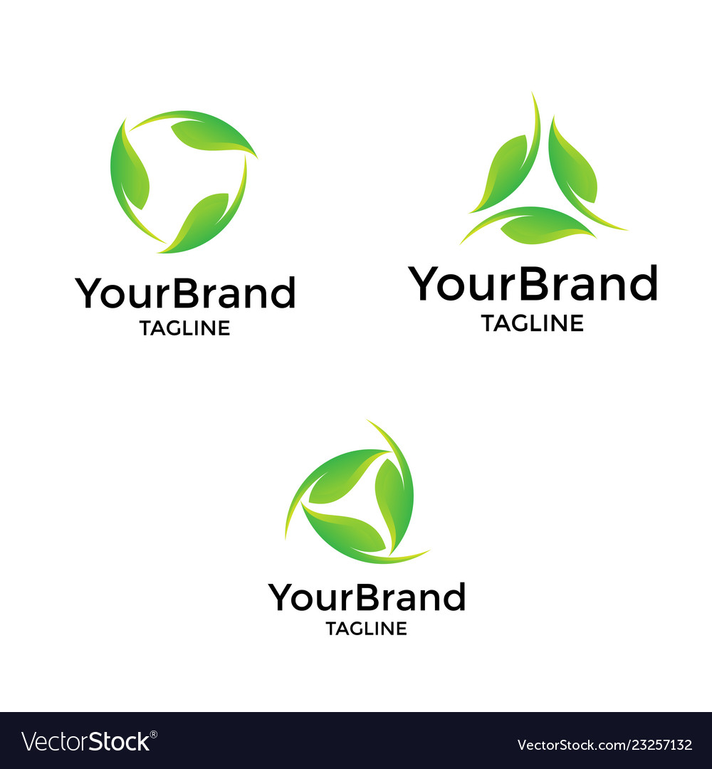 Modern circle leaf logo template