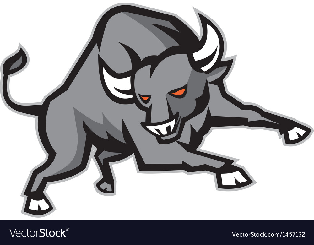 Raging Bull Attacking Charging Retro vector image