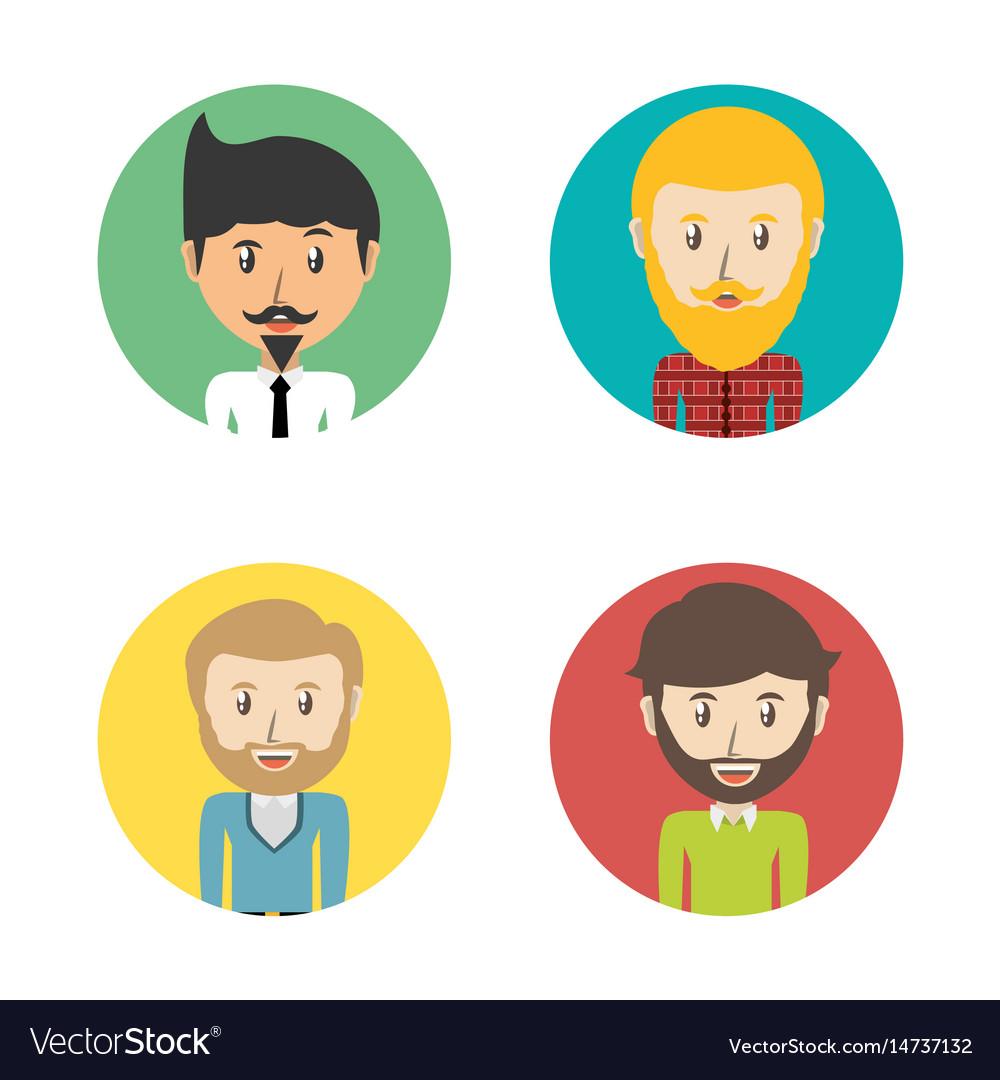 Set avatars men of different diversity inside