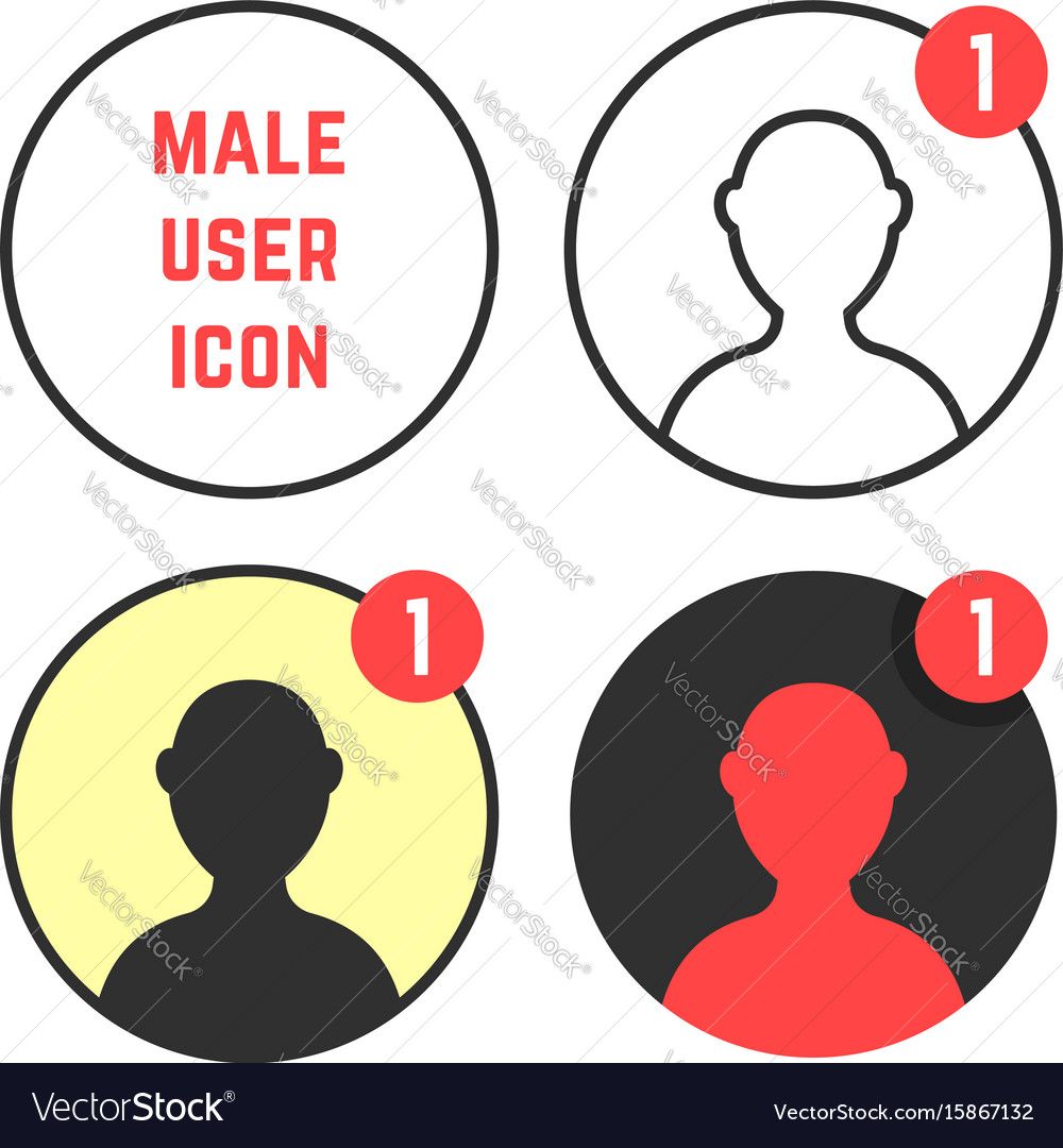Set of male user icons