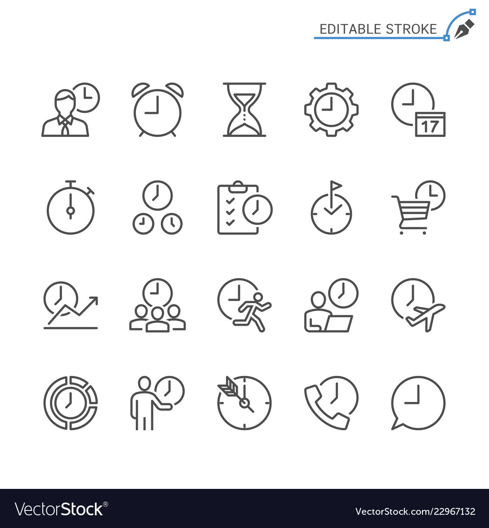 Time management line icons editable stroke