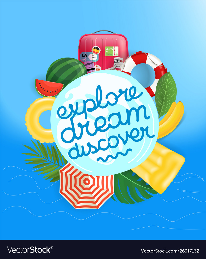 Travel concept with calligraphic logo and summer