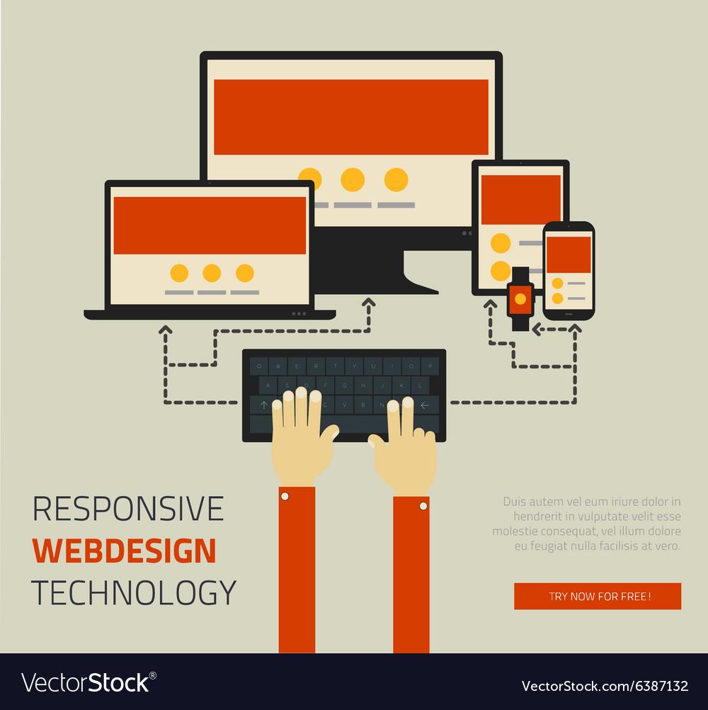 Trendy responsive webdesign technology page design