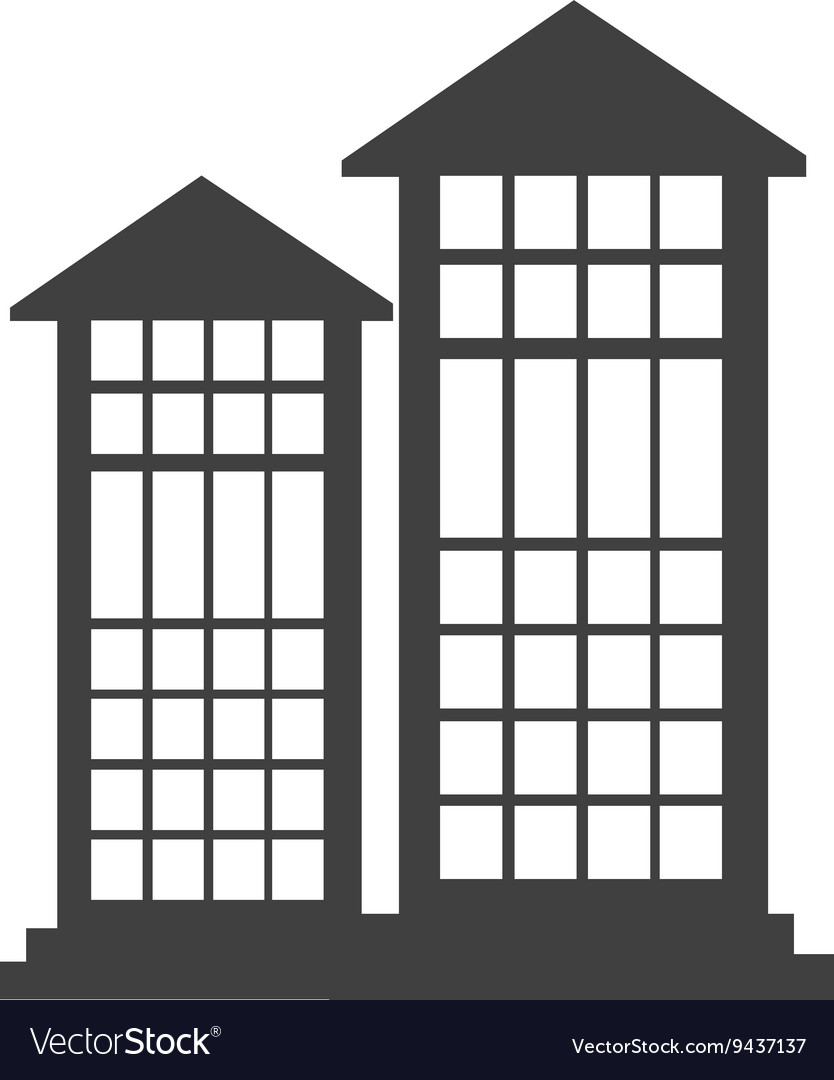 Black tall building with white windows Royalty Free Vector