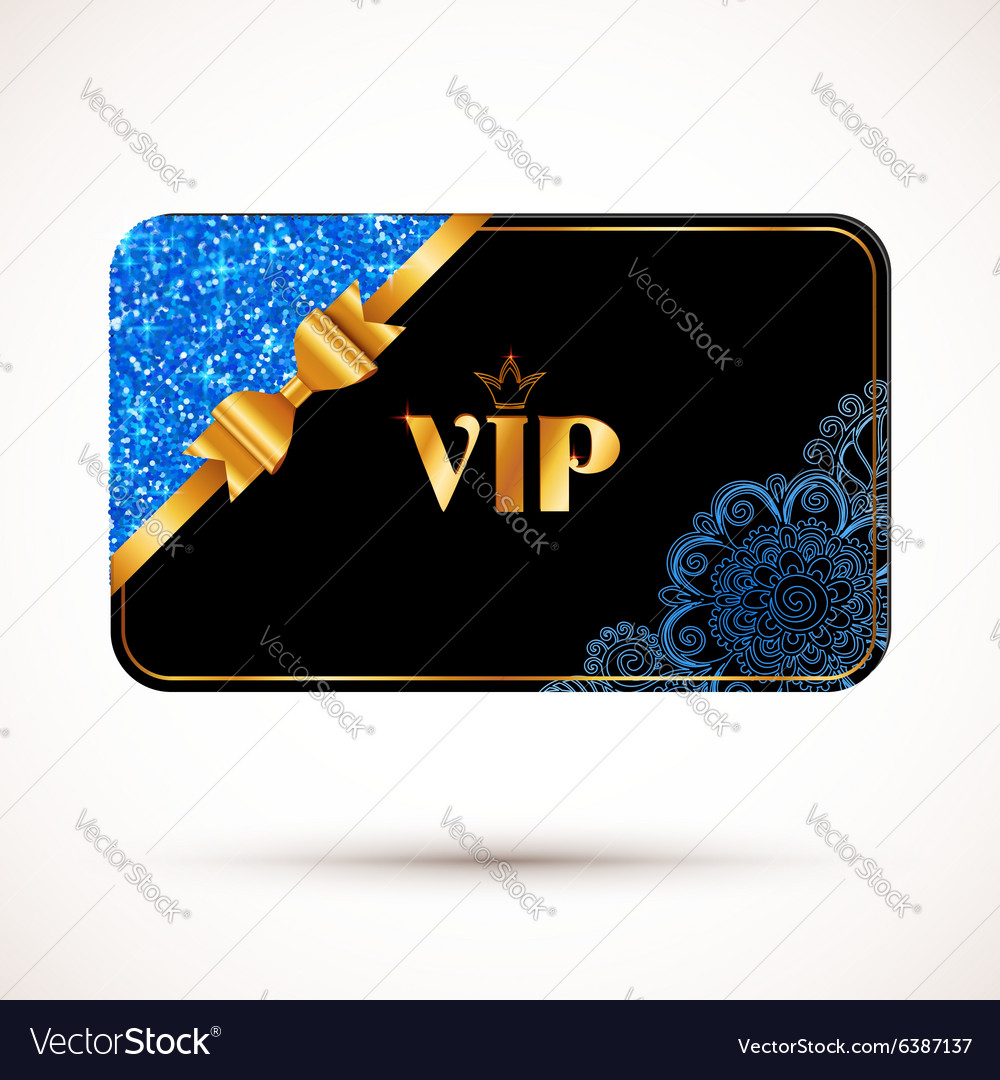 Black vip card template with blue glitter