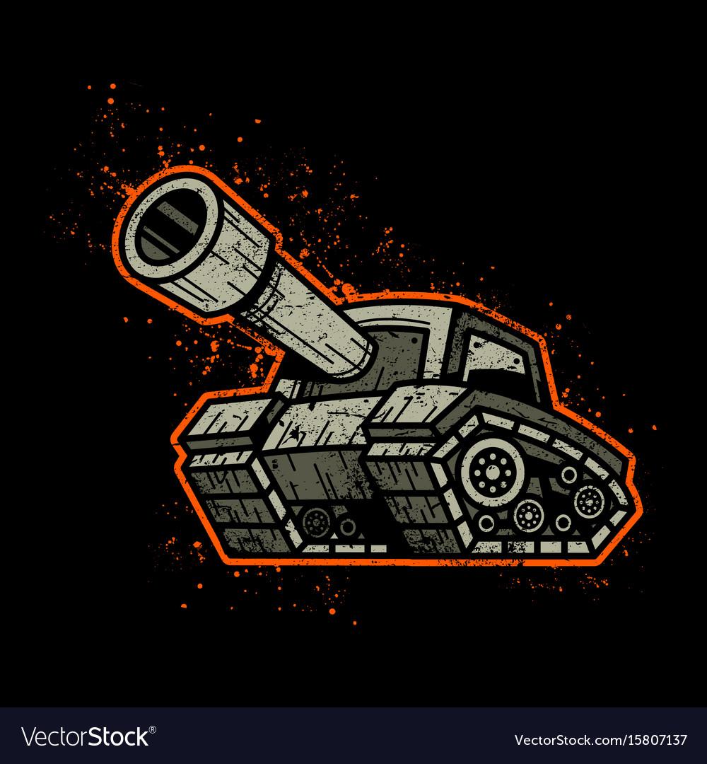 Cartoon army tank machine with big cannon ready