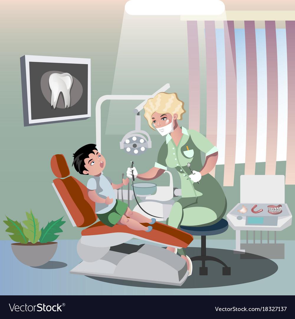 Children s dentist and patient