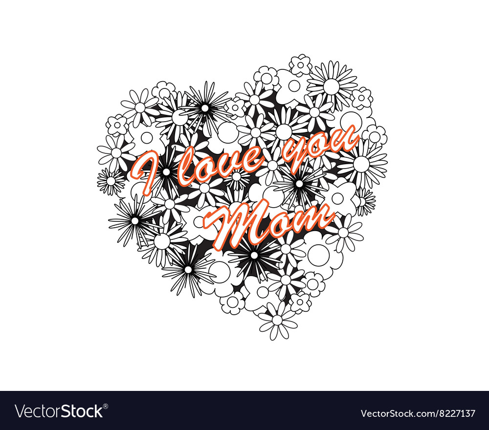 Coloring image - heart for mothers day